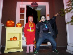 Word Girl (Lucy) and Count Drucula (Sebastian) ready for trick or treat action